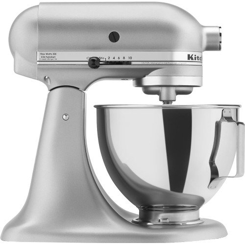 KitchenAid KSM75SL Classic Plus 4.5-Qt. Tilt-Head Stand Mixer, Silver