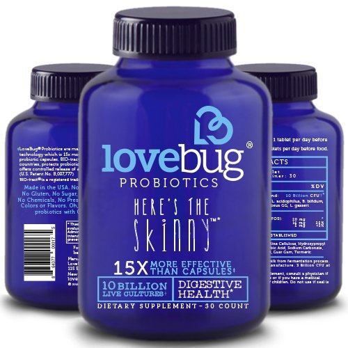LoveBug Probiotics Here's the Skinny, 30 Day Supply of Tablets, Probiotic Supplement for Digestive Support, 10 Billion CFU