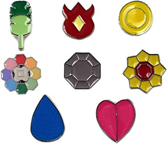 Pocket Monster Generation 1-6 Gym Badge Collection Box, Game collection Set of 8PCS, Gift for Boy and Girls
