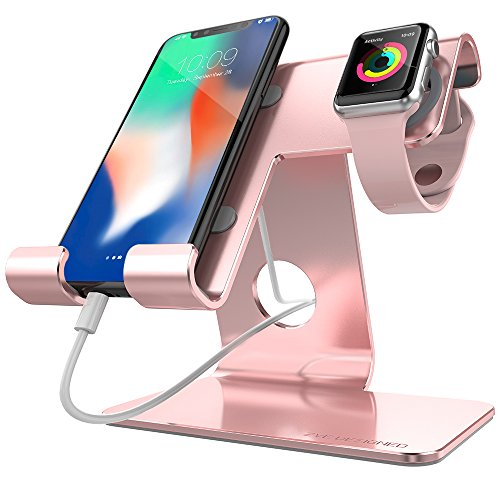 ZVE universal 2 in 1 Phone Stand Apple Watch Stand,Aluminum Apple Iwatch Charging Stands with Iwatch Case 38mm For IPhone 7 8 X Plus,Nintendo Switch,Iwatch,Tablet (Up to 12.9 inch) Rose