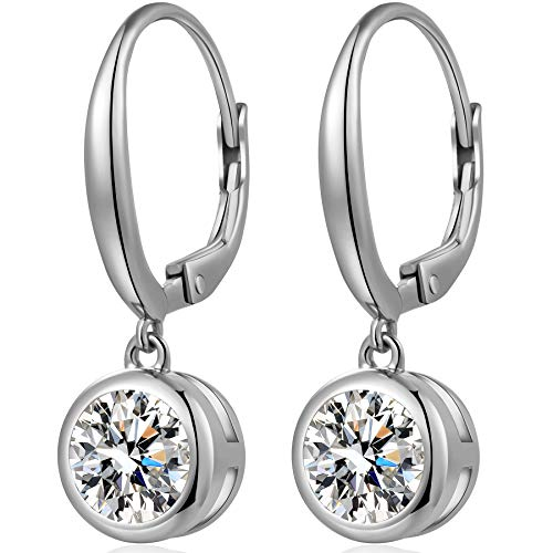 - Bezel Earrings Bezel Earrings Studs Sterling Silver Cubic Zirconia Bezel-Set Dangle Leverback Earrings 9MM Fake Diamond Earrings Moissanite Bezel Earrings Women Bezel CZ Earrings Bezel Diamond Earring
