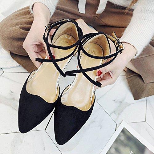 GAOLIM Zapatos De Mujer Sandalias Con Muelle De Punta Gruesa Luz De Baotou Tira Transversal Con Solo Zapatos Bajos Negro