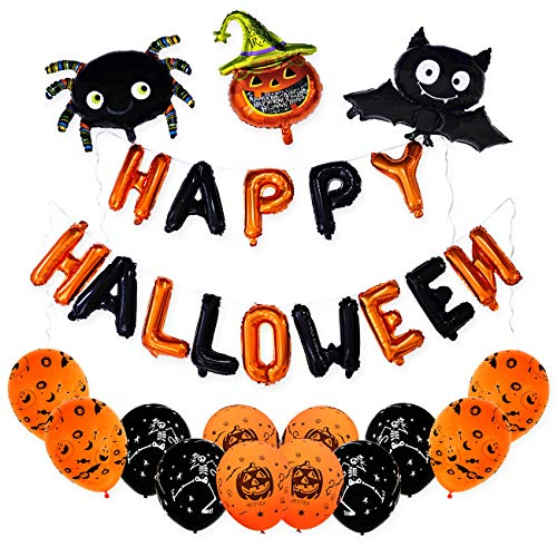 (Happy Halloween Banner and Balloons Set - Best for Kids Halloween Party Decorations, Include Halloween Banner, Halloween Balloons and Bat, Pumpkin,)