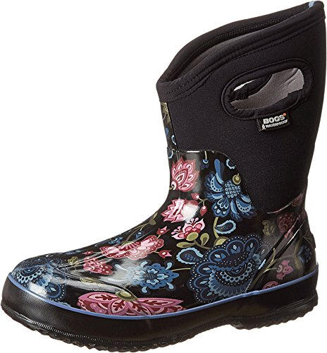 Bogs Classic Mid Boot - Bogs Women's Classic Mid Winter Blooms Waterproof Insulated Boot, Black Multi,7 M US