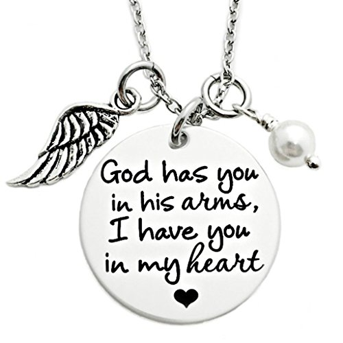 God Has You In His Arms, I Have You In My Heart Memorial Necklace - Engraved Jewelry