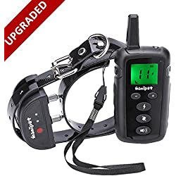 MiNiPet Dog Training Collar Rechargeable Waterproof 500 Yards Remote Control Beep Vibration and Shock Electronic Anti Bark Collars With LED Flashlight Adjustable TPU Belt
