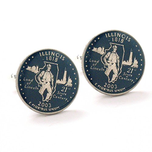 Illinois Quarter Cufflinks Suit Flag State Coin Jewelry USA US United States Springfield Chicago Lincoln