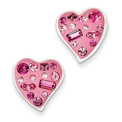 Sterling Silver Pink Crystal and Enameled Heart Post Earrings