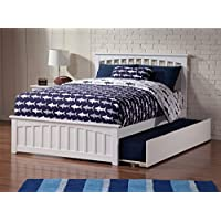 Mission Bed with Matching Foot Board and Trundle, Full, White