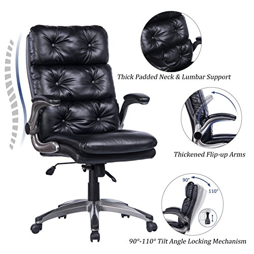 Leather Executive Office Chair - VANBOW High Back Office Chair - Ergonomic Tufted Bonded Leather Computer Desk Executive Chair, Adjustable Flip-up Arms, Double Padded Backrest Seat & 360 Degree Rotation for Office Workers & Students