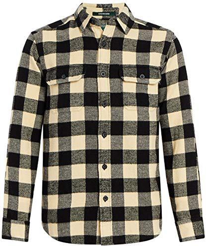 Woolrich Men's Oxbow Bend Flannel Shirt Modern Fit, Black/White, - Shirts Wool Woolrich