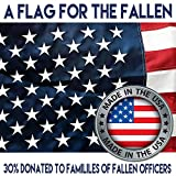 American Flag 4 x 6 + Free Affiche. Made in U.S.A Duralast Fabric. Embroidered Stars, Sewn Stripes, Brass Grommets. 30% of Proceeds Donated to Families of Fallen Officers