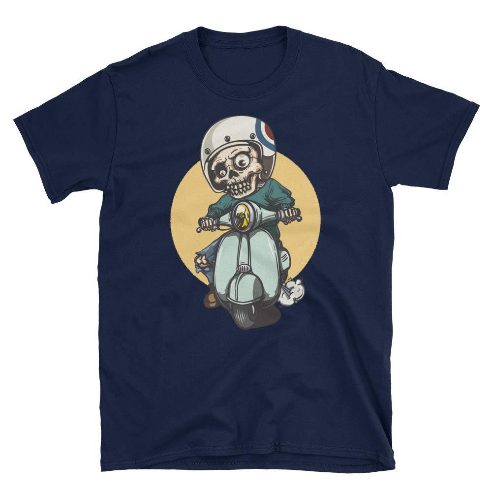 T-Shirt Moto Skull Men Graphic Funny Short Sleeve Cotton T-Shirt Unisex