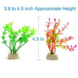 COMSUN 10 Pack Artificial Aquarium Plants, Small Size 4 to 4.5 inch Approximate Height Fish Tank Decorations Home Décor Plastic Assorted Color 6