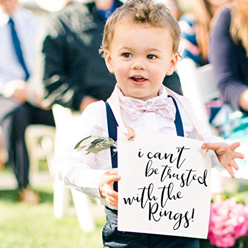 I Can't Be Trusted With The Rings Sign for Ring Bearer | Funny Wedding Banner for Ringbearer or Page Boy | Young Toddler in Wedding | Ceremony -