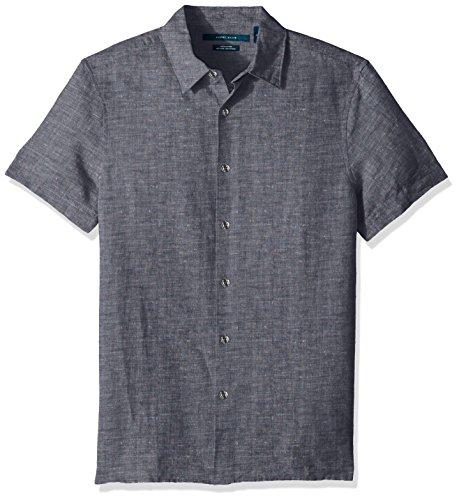 Perry Ellis Men's Short Sleeve Solid Linen Cotton Button-Up Shirt, Ink, Large