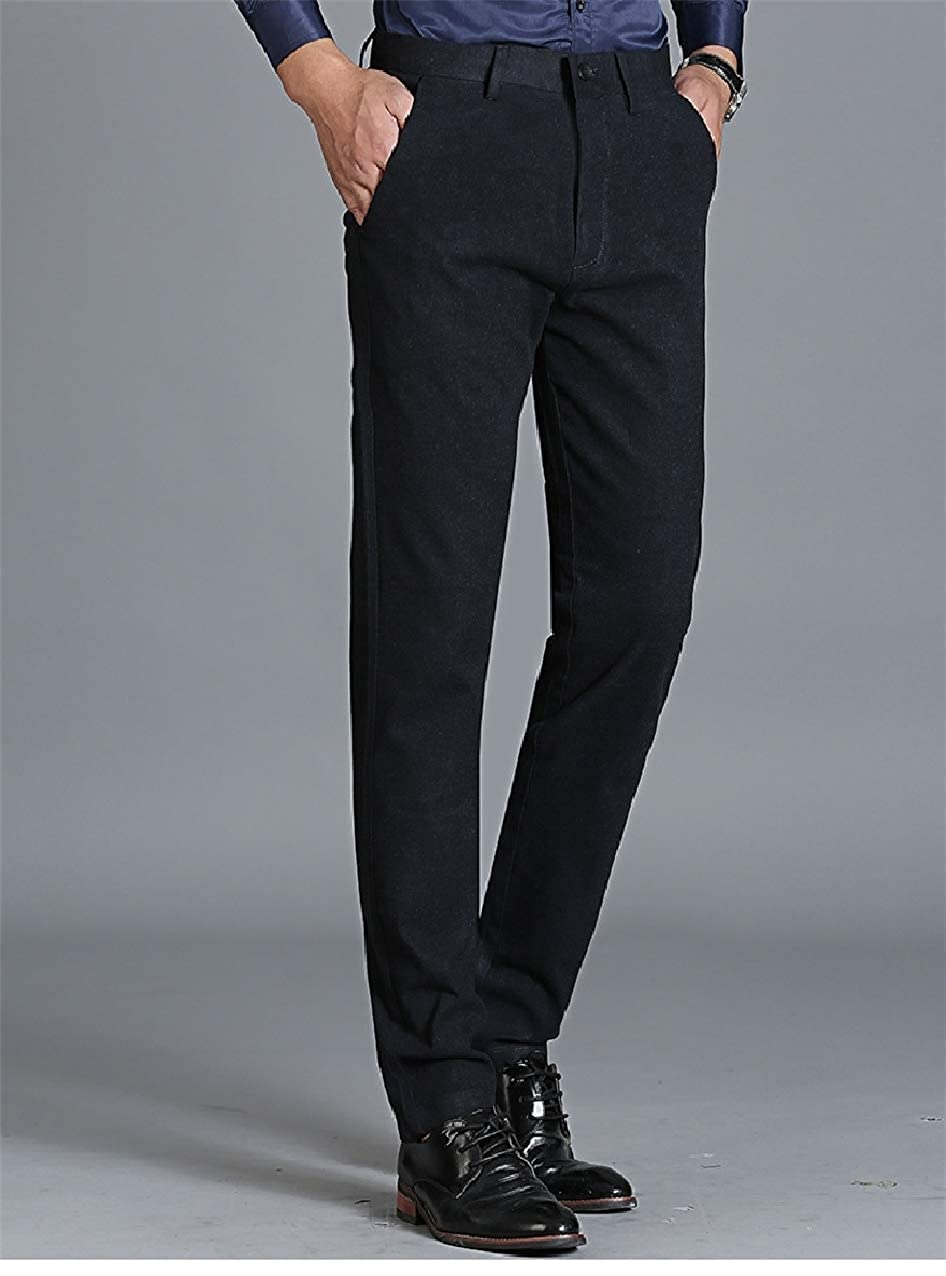 Zimaes-Men Wrinkle-Free Hidden Expandable-Waist Fall Winter Dress Pants