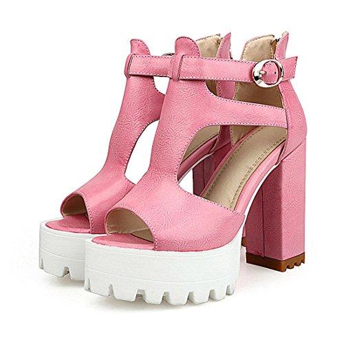 YE Women Ankle Strap Block High Heels Sandals Platform Pumps Shoes Pink hjugUuIvK
