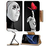 Luxlady Premium Samsung Galaxy S7 Flip Pu Wallet Case IMAGE ID: 23425686 robot android woman with butterfly