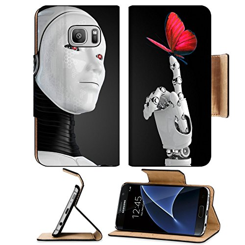Luxlady Premium Samsung Galaxy S7 Flip Pu Wallet Case IMAGE ID: 23425686 robot android woman with butterfly by Luxlady
