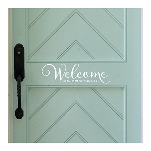 Welcome..Please Remove Your Shoes Vinyl Wall Decal (White)