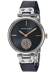 Anne Klein Womens AK/3001BLRT Swarovski Crystal Accented Silver-Tone and Blue Mesh Bracelet Watch