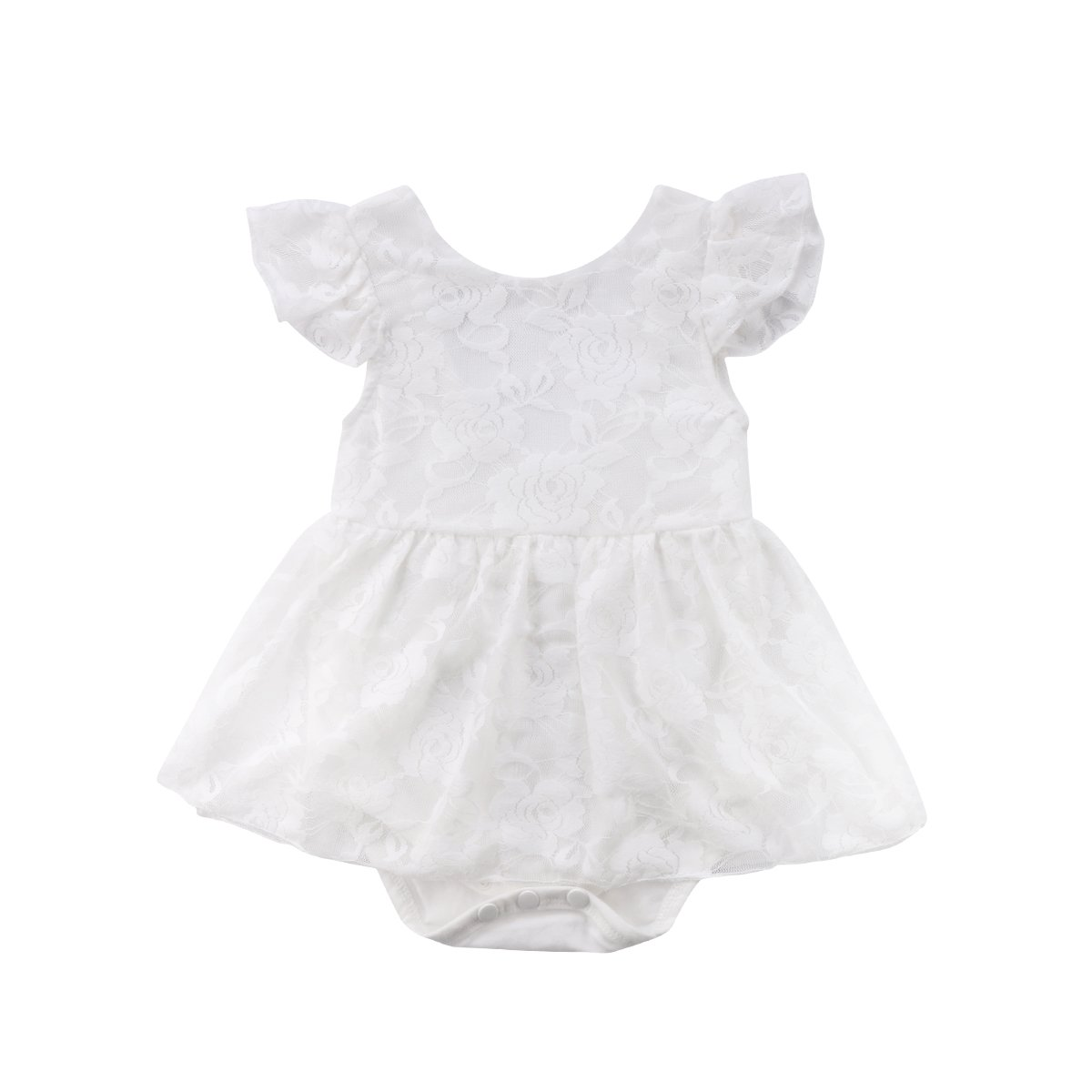 Imcute Newborn Baby Girls White Lace Princess Short Sleeve Romper Dresses for Summer