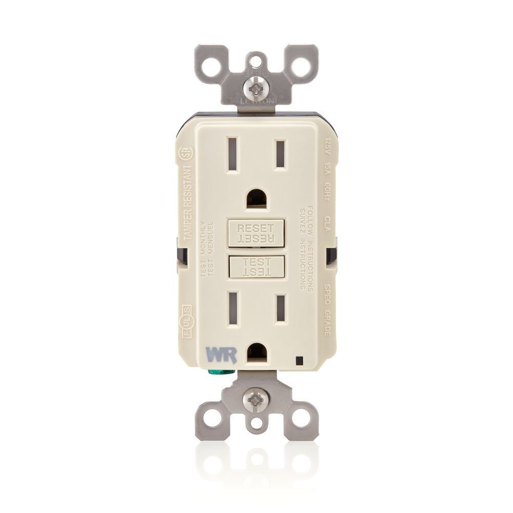 Leviton GFWT1-T Self-Test Smartlockpro Slim GFCI Weather-Resistant & Tamper-Resistant Receptacle with LED Indicator, 15 Amp, 10 Pack, Light Almond