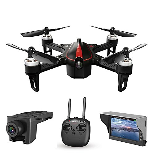 GooDGo Bugs 3 Mini Quadcopter with 5.8G FPV 720P Camera, LCD RX Display, 300m Remote Control Distance, Manual Dual Mode, High/Low Speed Switch, 2.4 GHz 6-Axis Gyro Headless Mode Drone (Black)