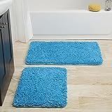 Bedford Home 2 Piece Memory Foam Shag Bath Mat - Blue