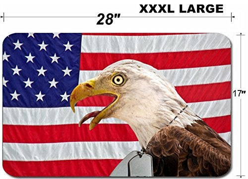 Liili Large Table Mat Non-Slip Natural Rubber Desk Pads IMAGE ID: 4945729 Regal bald eagle wearing military dog tags on a flag]()