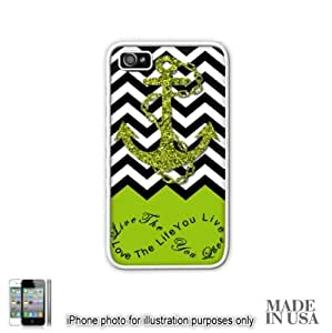 Anchor Live the Life You Love Infinity Quote - phone Green White Chevron with Anchor iphone 5c iphone 5c Hard Case - BLACK by Unique Design Gifts [MADE IN USA]