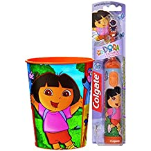 Dora the Explorer Inspired 2pc. Bright Smile Oral Hygiene Set! (1) Dora Battery Powered Turbo Spin Brush Plus Bonus Matching Mouth Wash Rinse Cup!