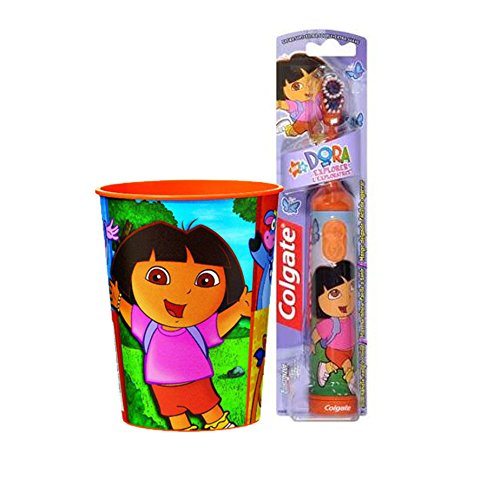 Dora the Explorer Inspired 2pc. Bright Smile Oral Hygiene Set! (1) Dora Battery Powered Turbo Spin Brush Plus Bonus Matching Mouth Wash Rinse Cup! by Colgate
