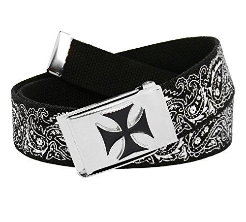 Men's Silver Flip Top Enameled Iron Cross Buckle with Printed Canvas Web Belt Small Black Bandana Print