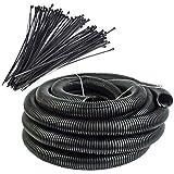 100 Feet 1'' Split Wire Loom Tubing - 100 Pcs 7'' Nylon Zip Ties Combo (Black)
