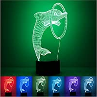 Nicebee 3D Colorful Night Light Dolphin Birthday Dolphin illusion LED night 7 Color change touch table desk Lamp Light Party simple fashion mood light