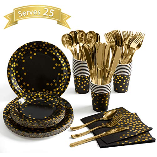 Black And Gold Party Supplies (Black and Gold Party Supplies 175 Pieces Golden Dot Disposable Party Dinnerware - Black Paper Plates Napkins Cups, Gold Plastic Forks Knives Spoons for Graduation, Birthday, Cocktail)