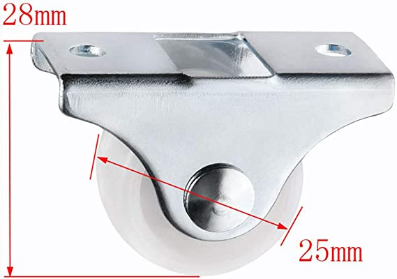 Small 1-Way Wheel Furniture Plastic Directional Wheel Wear-Resistant Color : 4pcs White Rail Fixed Casters Furniture Parts Xuulan Xianglaa-Wheel casters