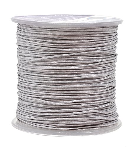 Mandala Crafts 1mm Satin Nylon Chinese Knot Rattail Macramé Beading Knotting Sewing Cord, 100M (Silver) (Beading Silk Satin)