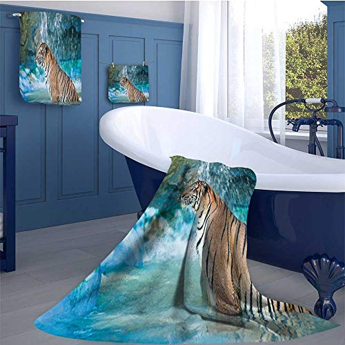 WolfgangDecor Tiger Soft Luxury Bath Sheet Set Feline Beast in Pond Searching for Prey Sumatra Indonesia Scenes Bath towel 3D digital printing set Turquoise Light Brown Black by WolfgangDecor
