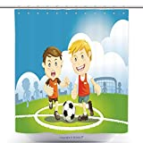 Waterproof Shower Curtains Children Playing Soccer Outdoors 87008420 Polyester Bathroom Shower Curtain Set With Hooks