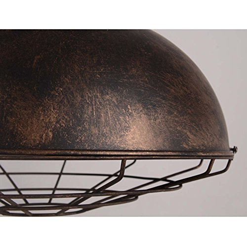 Neo-Industrial Nautical Barn Cage Pendant Light - LITFAD 16'' Single Pendant Lamp with Rustic Dome/Bowl Shape Mounted Fixture Ceiling Light Chandelier in Copper by LITFAD (Image #1)'