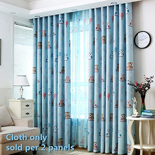 WPKIRA 1 Pair Nursery Curtains Semi Blackout Curtains Custom Thermal Insulated Grommets Curtains for Kids Bedroom Cartoon Owl Pattern Printed Energy Saving Curtain 2 Panels Blue W75 x L96 inch