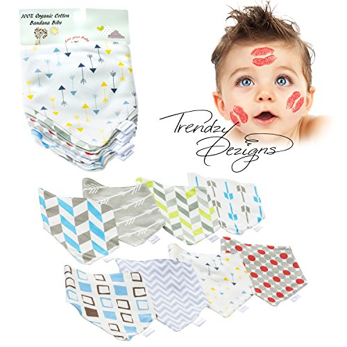 Baby Bandana Bibs for Boys, 8-Pack Gift Set for Drooling, 100% Organic Soft Cotton