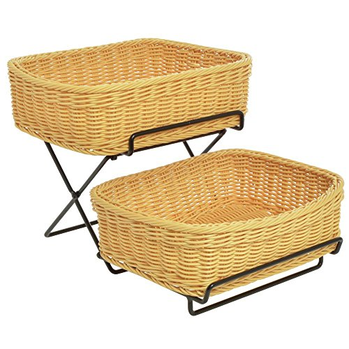 2-Tier Merchandising Rack, Black With 2 Light Beige Synthetic Wicker Baskets - 13
