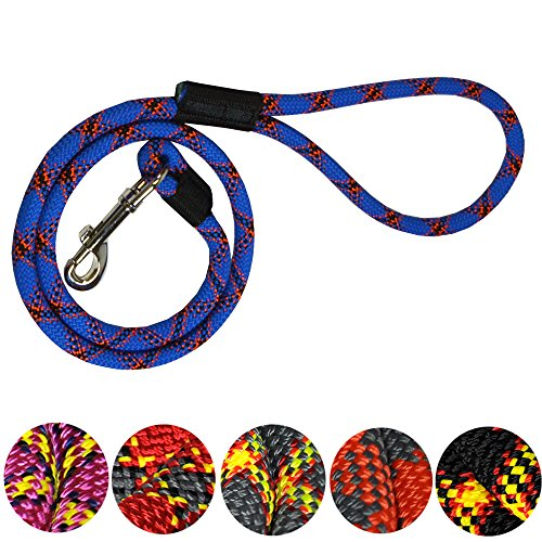 Extremely Durable Dog Rope Leash, Premium Quality Mountain Climbing Dog Rope Lead, Strong, Sturdy and Comfortable Leash, Supports the Strongest Pulling Large and Medium Sized Dogs, 3-feet, Blue