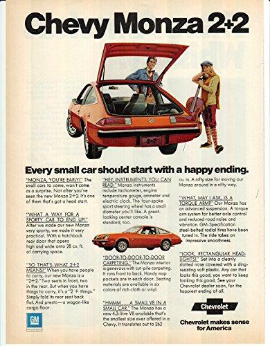 - 1974 Chevy Monza 2+2 Original Magazine Ad 4.3 Liter V-8 Engine 262 cubic inches
