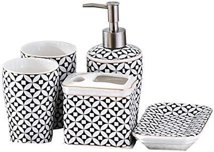 FXin バスルームアクセサリー、セラミックバスルームウォッシュセット5セット6セット、高級ホテル装飾家庭用品バスルームパーソナルケア製品 シャワー室 (Size : Six-piece)