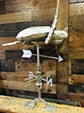 Hand Crafted LARGE 3D SEA TURTLE WEATHERVANE Stainless Steel - Outside House or Outdoor Yard Accent